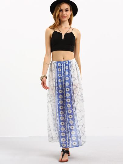 Blue White Tribal Print Slit Skirt