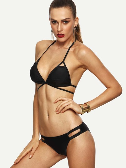 Black Cutout Strappy Triangle Bikini Set