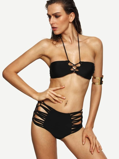 Black Halter Neck Strappy Lace-Up Bikini Set