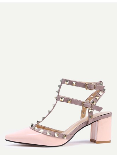 Nude Pointed Toe Metal Decorated Chunky Heels
