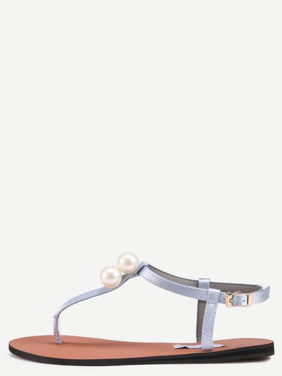 Grey Pearl Decorated Buckle Strap Flip Sandals