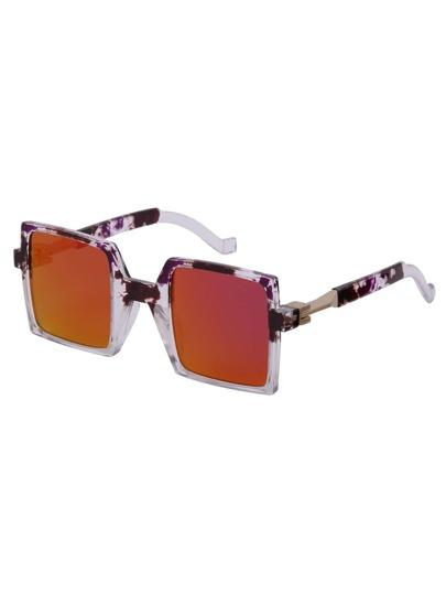 Multicolor Retro Reflective Square Sunglasses