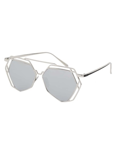 Silver Metal Frame Hollow Sunglasses