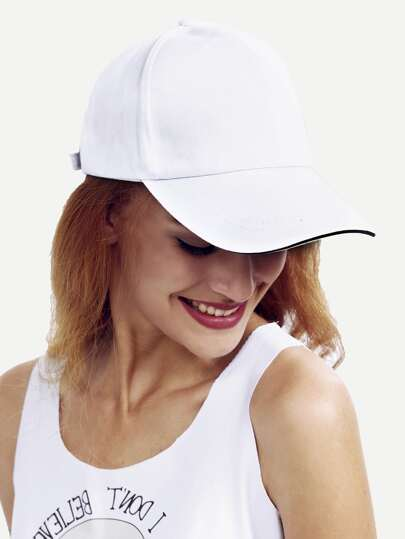 White Basic Cotton Baseball Hat