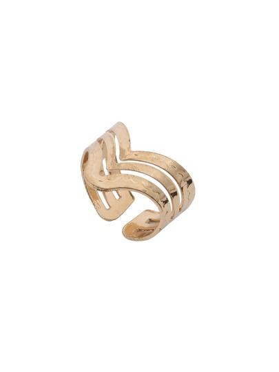 Golden V-shaped Hollow Ring