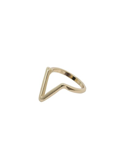 Golden Smooth Triangle Hollow Ring