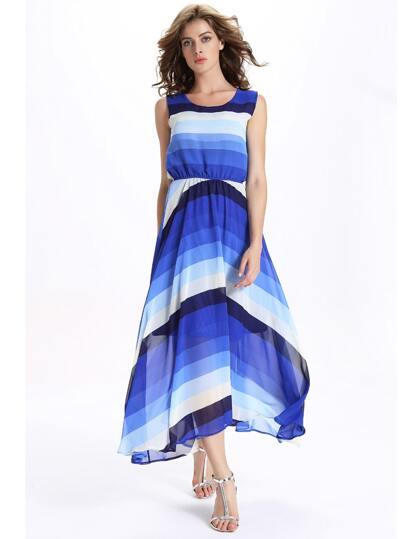 Blue Ombre Striped Sleeveless Chiffon Dress