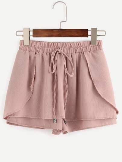 Shorts cintura con cordón cruzado -rosa