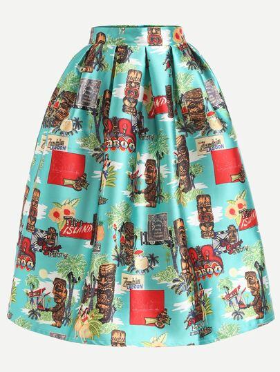 Multicolor Printed Box Pleated Volume Skirt