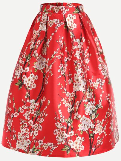 Red Cherry Blossom Print Box Pleated Skirt