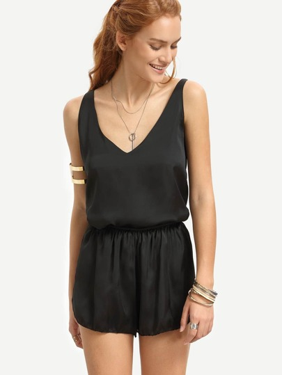Black V Neck Tank Top With Elastic Waist Shorts