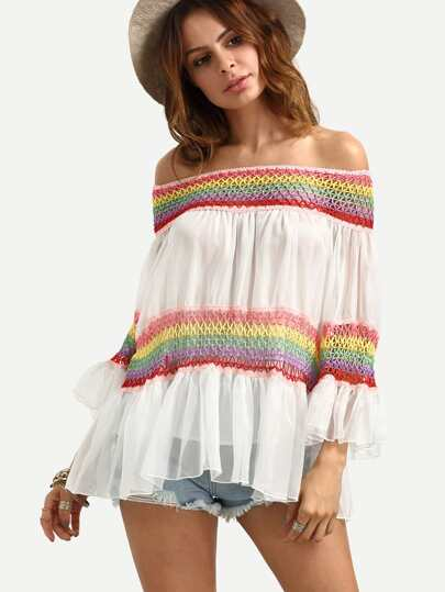 White Off The Shoulder Rainbow Macrame Blouse