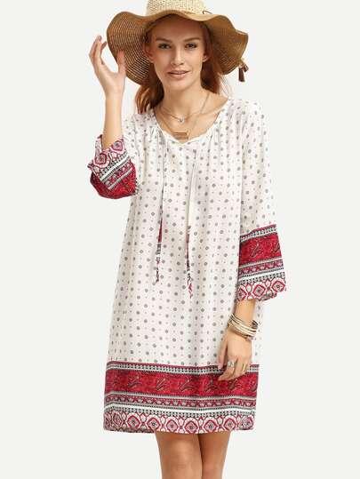 White Tie Neck Paisley Print Tunic Dress