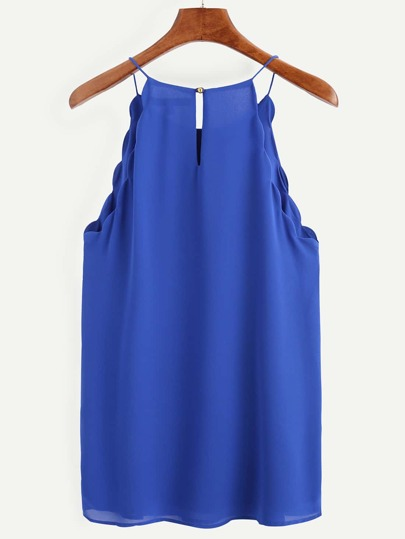 Royal Blue Keyhole Scallop Chiffon Cami Top