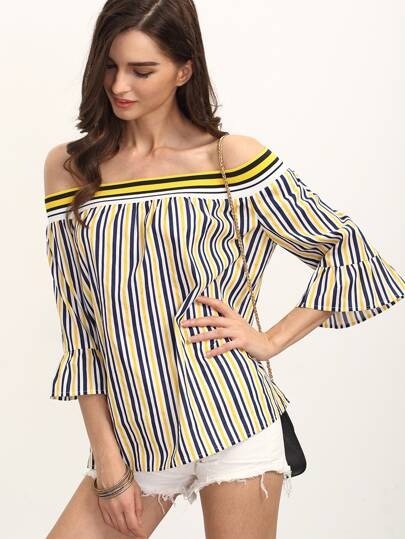 Multicolor Striped Bell Sleeve Off The Shoulder Blouse