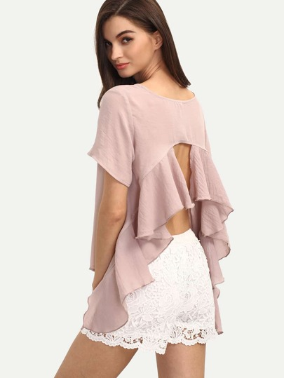 Pink Short Sleeve Backless Ruffle Blouse