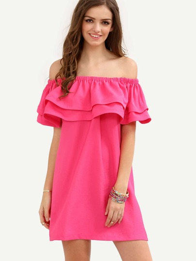 Hot Pink Off The Shoulder Ruffle Shift Dress