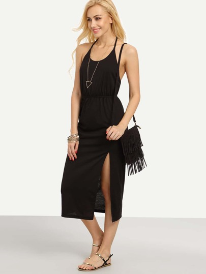 Black Halter Backless Split Dress