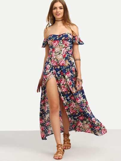 فستان ملون بطباعة أزهار مكشوف الكتف