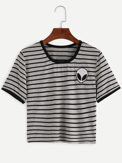Grey Striped Embroidered T-shirt