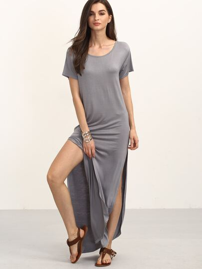 Gray Short Sleeve Split Maxi Dress