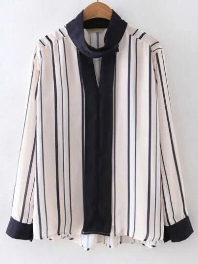 Contrast Long Sleeve Band Collor Stripe Blouse