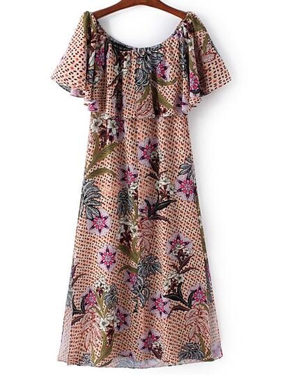 Multicolor Boat Neck Ruffle Floral Chiffon Dress