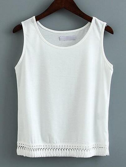 White Sleeveless Tassel Slim Vest