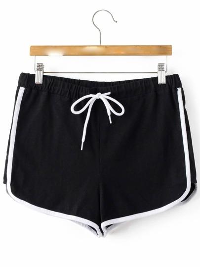 Black Elastic Waist Sport Shorts