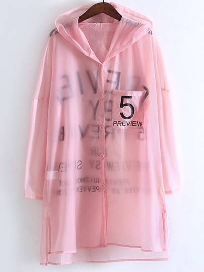 Pink Long Sleeve Pocket Buttons Front Outer With Hooded