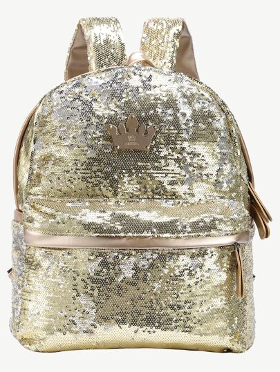 Gold Sequin Crown Embellished Backpack