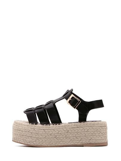 Sandalias peep toe hebilla de correa plataforma plana -negro