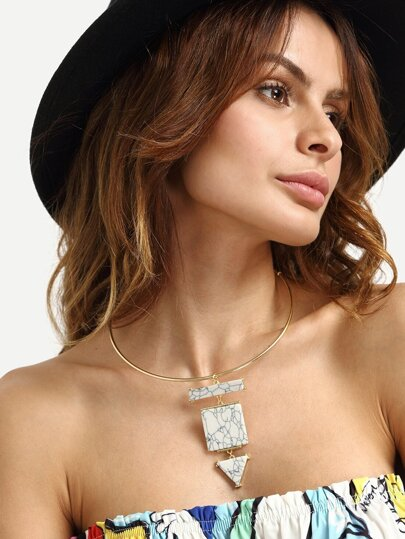 White Geometrical Turquoise Pendant Necklace