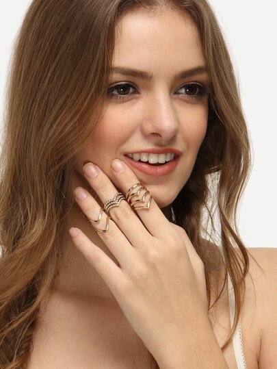 Golden V-shaped Ring Set - 3 PCS