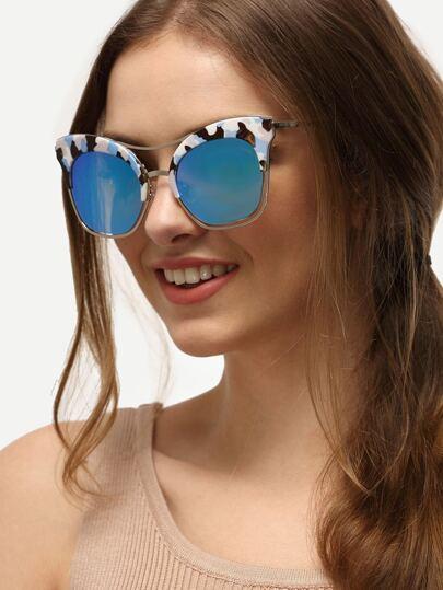 Multicolor Cat Eye Blue Lenses Sunglasses
