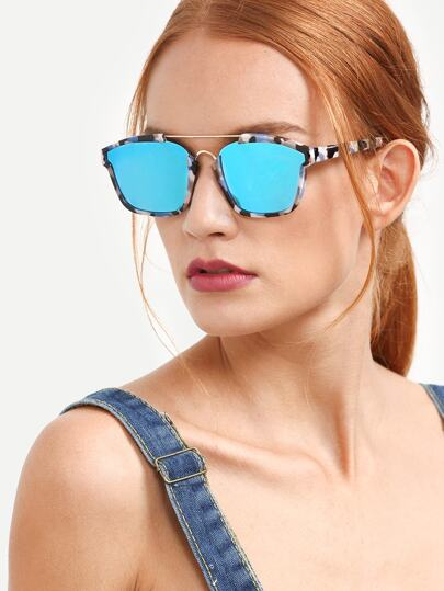Multicolor Frame Blue Lenses Sunglasses