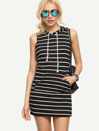 Black White Striped Sleeveless Hooded Dress