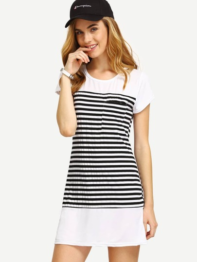 Black White Striped T-shirt Dress
