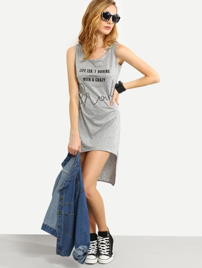 Grey Letter Print High Low Tank Dress