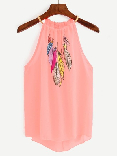 Pink Keyhole Halter Neck Feather Print Top