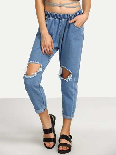 Elastic Waist Ripped Denim Pants
