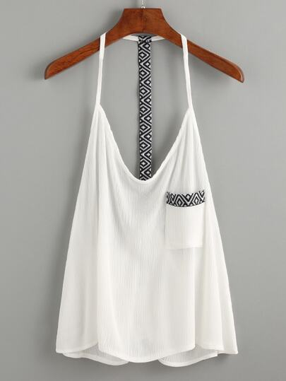 White Geometric Slim Racerback Cami Top