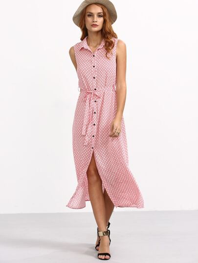 Pink Tie Waist Button Roll-up Collar Sleeveless Dress