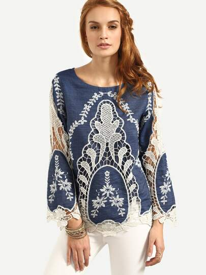 Navy Hollow Embroidered Long Sleeve Blouse