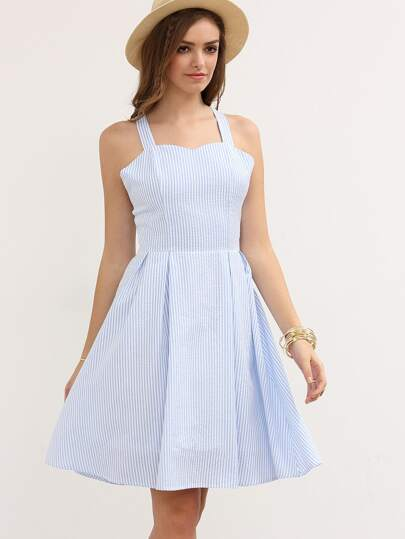 Blue Striped Crisscross Bow Dress