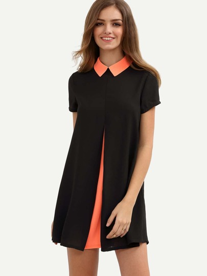 Colorblock Roll-up Collar Short Sleeve Shift Dress