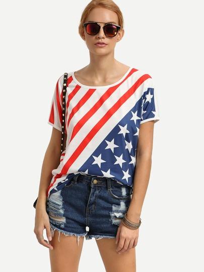 Star-Spangled Banner Print Short Sleeve T-shirt