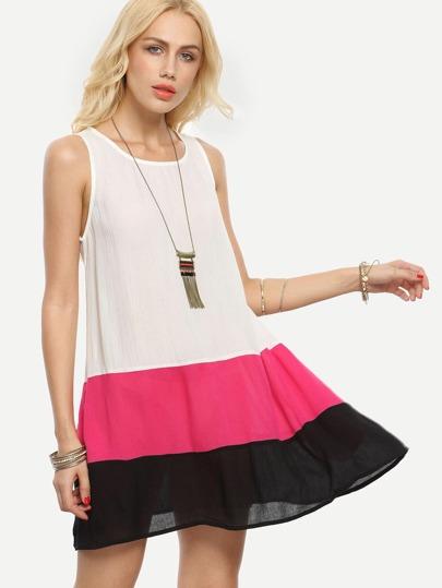 Color-block Sleeveless Pockets Shift Dress