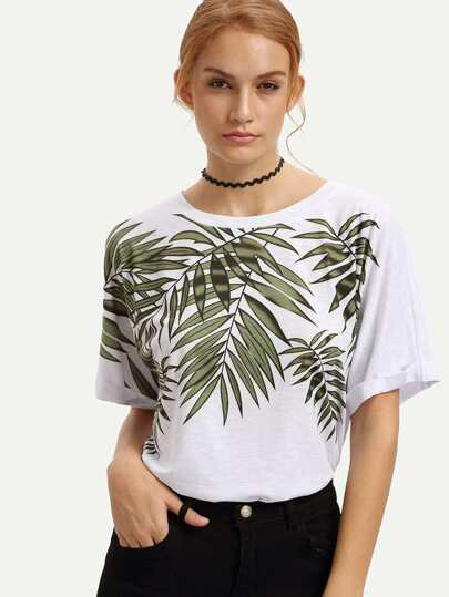 White Bamboo Print Rolled-up T-shirt