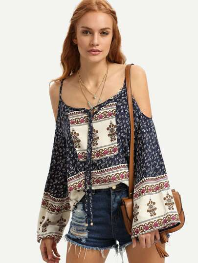 Ditsy Print Cold Shoulder Blouse